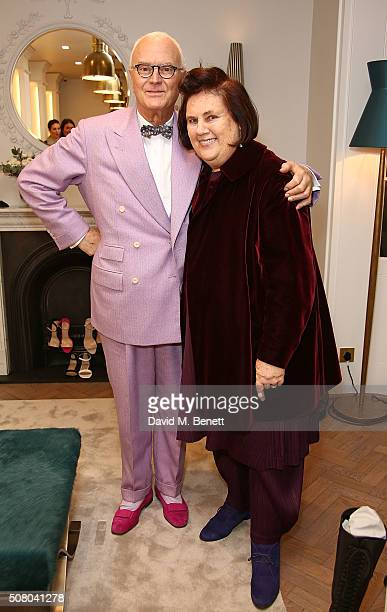 Manolo Blahnik and Suzy Menkes attend the Manolo Blahnik store launch in Burlington Arcade on February 2 2016 in London England