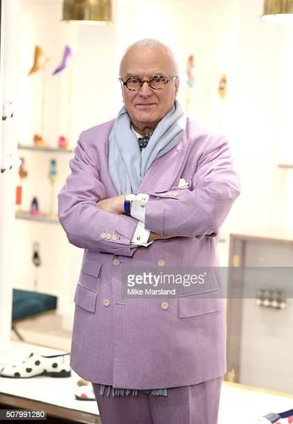 Manolo Blahnik attends the Manolo Blahnik store launch at Burlington Arcade on February 2 2016 in London England