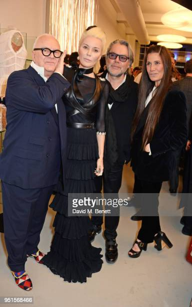 Manolo Blahnik Daphne Guinness David Downton and Elizabeth Saltzman attend the opening of Maison Alaia on New Bond Street on April 26 2018 in London...