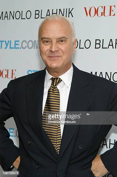 Manolo Blahnik during Launch Party For Manolo Blahnik Exhibition Hosted by Anna Wintour and Candy Pratts Price Presented by Stylecom at Phillips de...