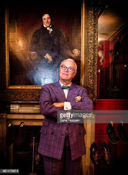 Manolo Blahnik poses for a portrait as he presents his men's shoe collection during LCM at Sir John Soane's Museum on January 12 2015 in London...