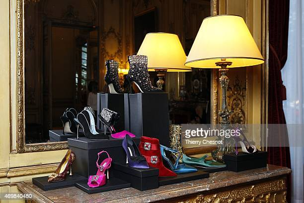 Manolo Blahnik 's shoes are displayed as part of the made in Spain event at Spanish Embassy on April 15 2015 in Paris France