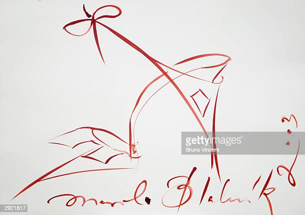 Manolo Blahnik's doodle is seen on display at a photocall to mark National Doodle Day at the Jerwood Space on February 2 2004 in London The event...