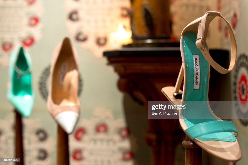 Manolo Blahniks' shoe collection displayed during Manolo Blahnik presentation at London Fashion Week SS14 at Covent Garden Hotel on September 15, 2013 in London, England.