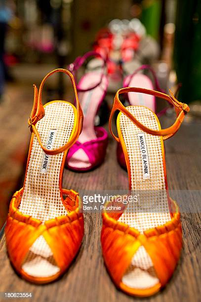 Manolo Blahniks' shoe collection displayed during Manolo Blahnik presentation at London Fashion Week SS14 at Covent Garden Hotel on September 15 2013...