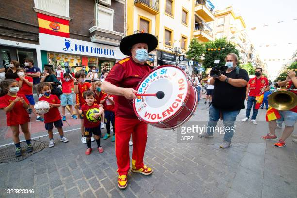 Manolo el del Bombo, icon of the Spain National Team, cheers on the fans during the welcoming ceremony for EURO2020 in the Los Remedios neighborhood...