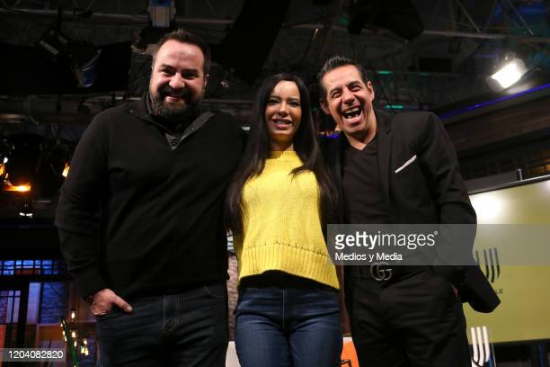 Manolo Fernández, Raquel Rocha and Yordi Rosado poses for photos during a press conference on February 4, 2020 in Mexico City, Mexico.