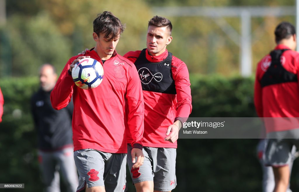 Manolo Gabbiadini(left) and Dusan Tadic during a Southampton FC training session at the Staplewood Campus on October 12, 2017 in Southampton, England.