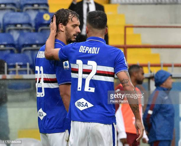 Manolo Gabbiadini and Fabio De Paoli of UC Sampdoria celebrate during the Serie A match between UC Sampdoria and Torino FC at Stadio Luigi Ferraris...