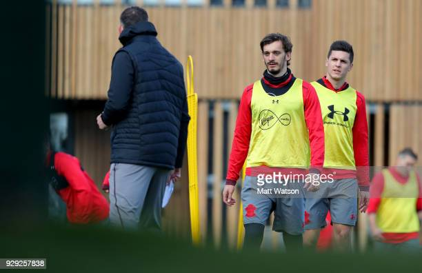 Manolo Gabbiadini and Guido Carrillo during a Southampton FC training session at the Staplewood Campus on March 8 2018 in Southampton England