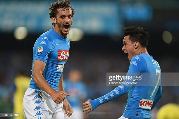 Manolo Gabbiadini and Josè Maria Callejon of Napoli celebrate a goal 10 scored by Manolo Gabbiadini during the Serie A match between SSC Napoli and...