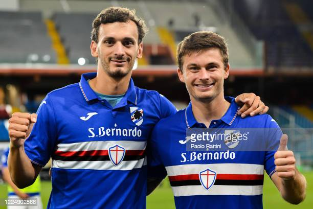 Manolo Gabbiadini and Karol Linetty of Sampdoria celebrate the clubs victory after the Serie A match between UC Sampdoria and SPAL at Stadio Luigi...