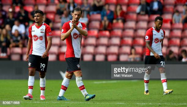 Manolo Gabbiadini applaudes fans after scoring Southampton's second during the preseason friendly between Southampton FC and Sevilla at St Mary's...