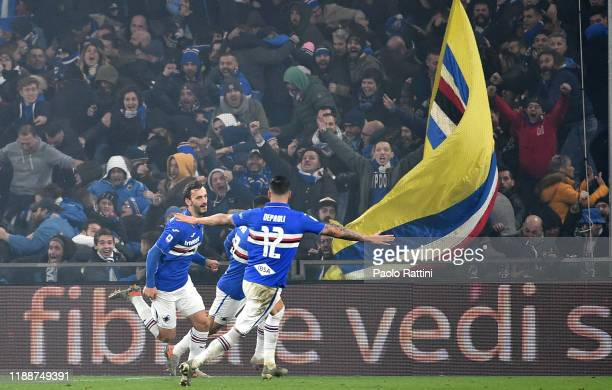 Manolo Gabbiadini celebrates after scoring his first goal during the Serie A match between Genoa CFC and UC Sampdoria at Stadio Luigi Ferraris on...