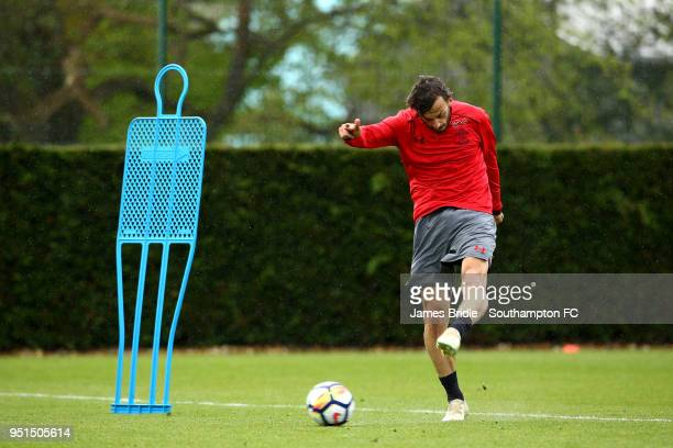 Manolo Gabbiadini during a Southampton FC training session at Staplewood Complex on April 26 2018 in Southampton England