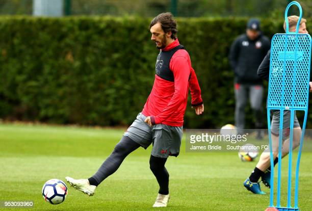 Manolo Gabbiadini during a Southampton FC Training session at Staplewood Complex on April 30 2018 in Southampton England