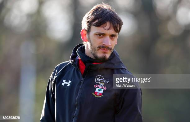 Manolo Gabbiadini during a Southampton FC training session at the Staplewood Campus on December 12 2017 in Southampton England