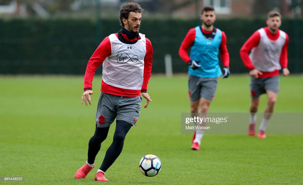 Manolo Gabbiadini during a Southampton FC training session at the Staplewood Campus on March 13, 2018 in Southampton, England.