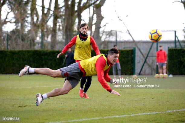 Manolo Gabbiadini Guido Carrillo during a Southampton FC training session at Staplewood Training Centre on March 8 2018 in Southampton England