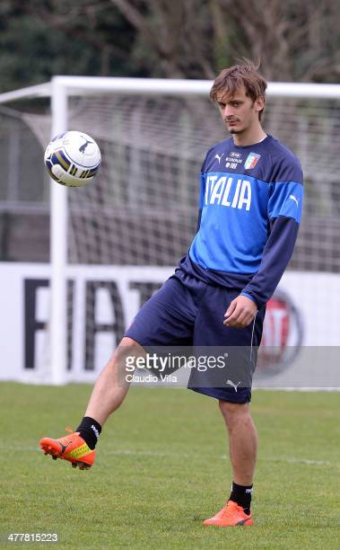 Manolo Gabbiadini of Italy during Italy Training Camp Day 2 at Acqua Acetosa on March 11 2014 in Rome Italy