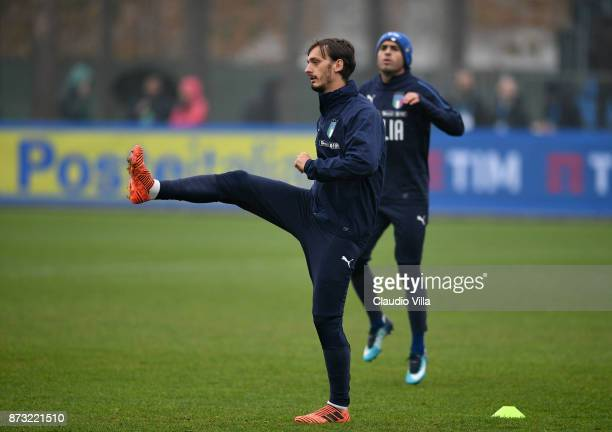 Manolo Gabbiadini of Italy in action during a Italy training session at Appiano Gentile on November 12 2017 in Como Italy
