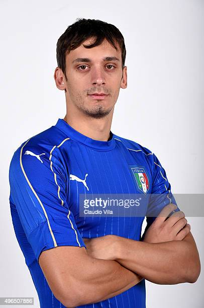Manolo Gabbiadini of Italy poses during the official portrait session at Coverciano on November 10 2015 in Florence Italy