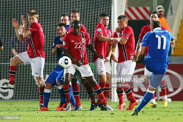 Manolo Gabbiadini of Italy tries to score with a freekick during the UEFA European U21 Championship Group A match between Norway and Italy at...