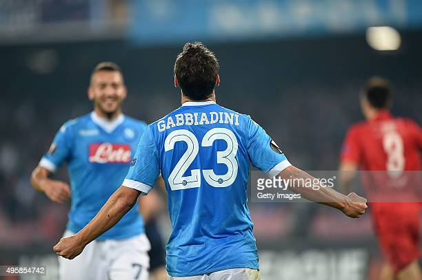 Manolo Gabbiadini of Napoli celebrates after scoring goal 20 during the UEFA Europa League Group D match between SSC Napoli and FC Midtjylland at...