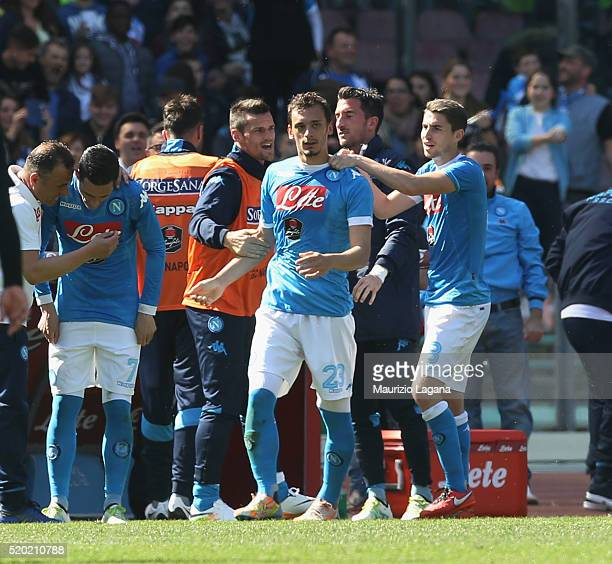 Manolo Gabbiadini of Napoli celebrates after scoring the opening goal during the Serie A match between SSC Napoli and Hellas Verona FC at Stadio San...