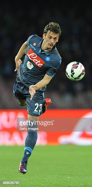 Manolo Gabbiadini of Napoli in action during the Tim cup match between SSC Napoli and SS Lazio at the San Paolo Stadium on April 8 2015 in Naples...