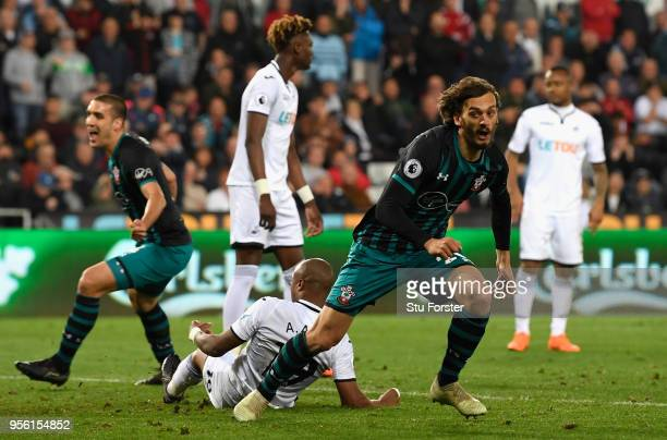 Manolo Gabbiadini of Southampton after he scores his sides first goal during the Premier League match between Swansea City and Southampton at Liberty...