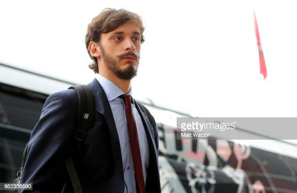 Manolo Gabbiadini of Southampton arrives ahead of the Premier League match between Southampton and AFC Bournemouth at St Mary's Stadium on April 28...