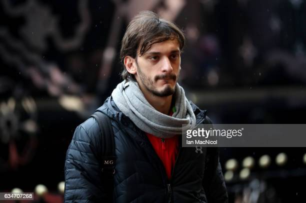 Manolo Gabbiadini of Southampton arrives at the stadium prior to the Premier League match between Sunderland and Southampton at Stadium of Light on...