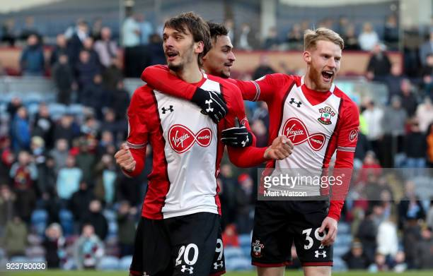 Manolo Gabbiadini of Southampton celebrates after equalising during the Premier League match between Burnley and Southampton at Turf Moor on February...