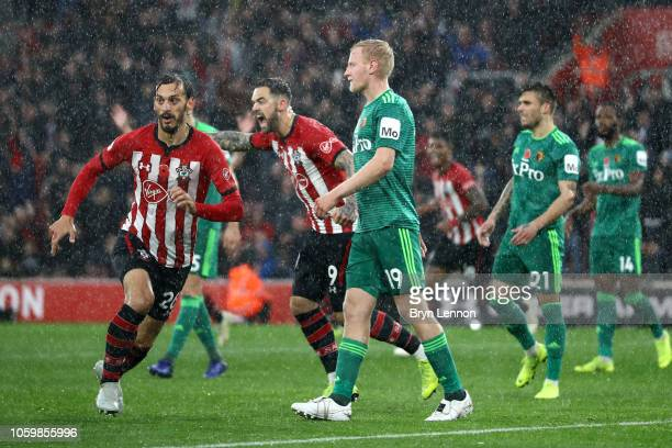 Manolo Gabbiadini of Southampton celebrates after scoring his team's first goal during the Premier League match between Southampton FC and Watford FC...