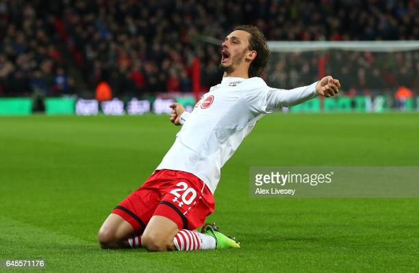 Manolo Gabbiadini of Southampton celebrates as he scores their second goal during the EFL Cup Final match between Manchester United and Southampton...