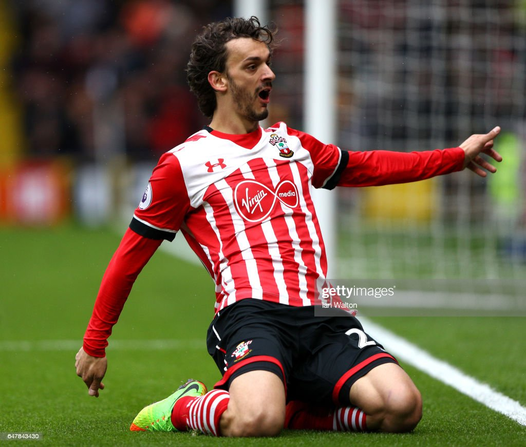 Manolo Gabbiadini of Southampton celebrates scoring his fourth goal during the Premier League match between Watford and Southampton at Vicarage Road on March 4, 2017 in Watford, England.