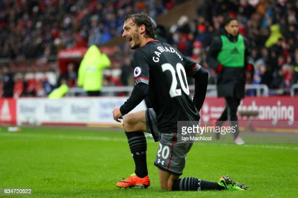 Manolo Gabbiadini of Southampton celebrates scoring the opening goal during the Premier League match between Sunderland and Southampton at Stadium of...