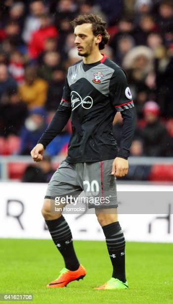 Manolo Gabbiadini of Southampton during the Premier League match between Sunderland and Southampton at Stadium of Light on February 11 2017 in...