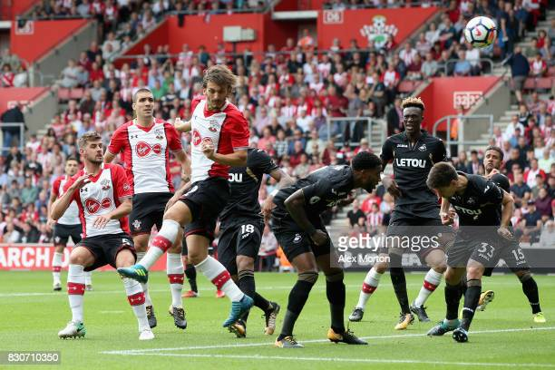 Manolo Gabbiadini of Southampton heads towards goal during the Premier League match between Southampton and Swansea City at St Mary's Stadium on...