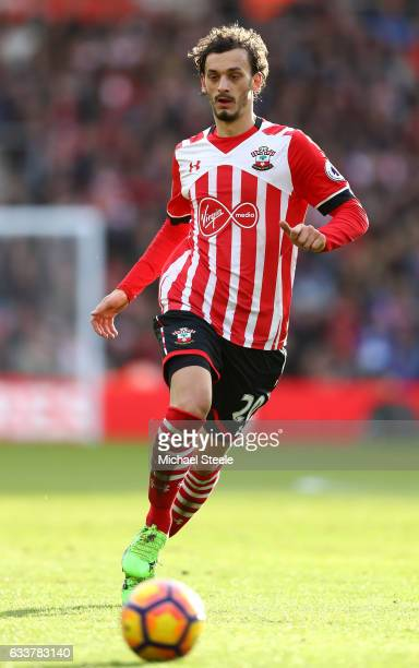 Manolo Gabbiadini of Southampton in action during the Premier League match between Southampton and West Ham United at St Mary's Stadium on February 4...