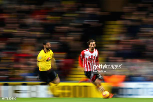 Manolo Gabbiadini of Southampton in action during the Premier League match between Watford and Southampton at Vicarage Road on March 4 2017 in...