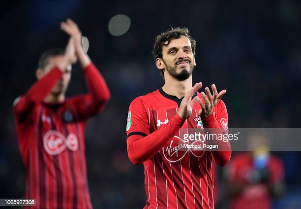 Manolo Gabbiadini of Southampton looks dejected after defeat in the penalty shoot out during the Carabao Cup Fourth Round match between Leicester...