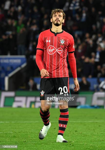 Manolo Gabbiadini of Southampton looks dejected after missing a penalty during the Carabao Cup Fourth Round match between Leicester City and...