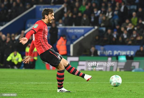 Manolo Gabbiadini of Southampton misses a penalty during the Carabao Cup Fourth Round match between Leicester City and Southampton at The King Power...
