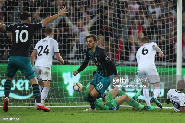 Manolo Gabbiadini of Southampton scores a goal to make it 01 during the Premier League match between Swansea City and Southampton at Liberty Stadium...
