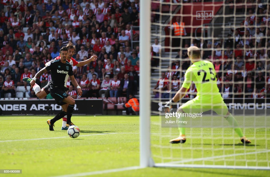 Manolo Gabbiadini of Southampton scores his sides first goal past Joe Hart of West Ham United during the Premier League match between Southampton and West Ham United at St Mary's Stadium on August 19, 2017 in Southampton, England.