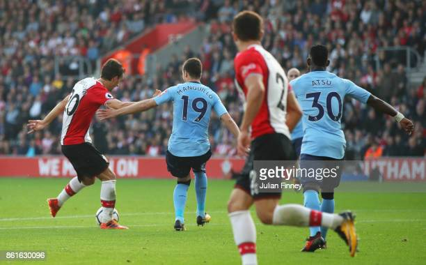 Manolo Gabbiadini of Southampton scores their first and equalising goal during the Premier League match between Southampton and Newcastle United at...