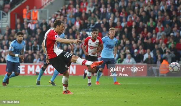 Manolo Gabbiadini of Southampton scores their second goal from the penalty spot during the Premier League match between Southampton and Newcastle...