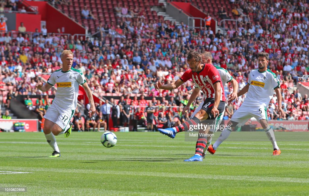 Manolo Gabbiadini of Southampton shoots at goal during the pre-season friendly match between Southampton and Borussia Monchengladbach at St Mary's Stadium on August 4, 2018 in Southampton, England.